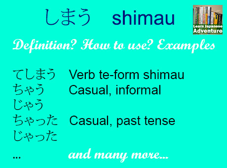 Definition and usage of the verb shimau