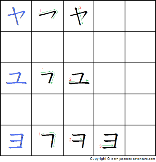 Writing Japanese Katakana in ya-line